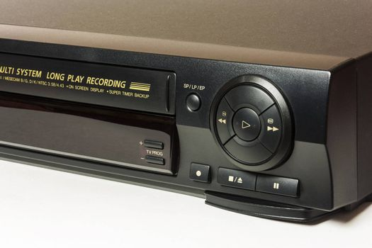 Faceplate domestic VCR control buttons for playback of home video cassettes