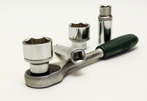 Hand tool. Key ratchet with extension and union heads