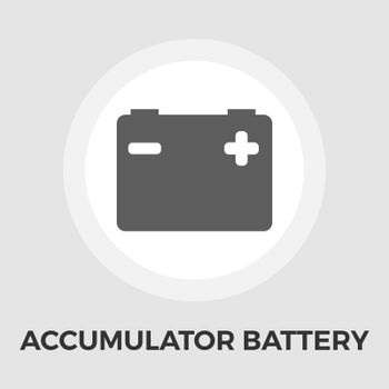 Accumulator Battery Icon Vector. Flat icon isolated on the white background. Editable EPS file. Vector illustration.