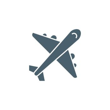 Airplane related vector glyph icon. Isolated on white background. Vector illustration.