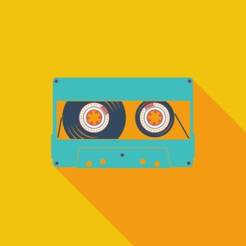 Audiocassette icon. Flat vector related icon with long shadow for web and mobile applications. It can be used as - logo, pictogram, icon, infographic element. Vector Illustration.
