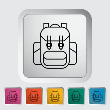 Rucksack outline icon on the button. Vector illustration.