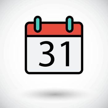 Calendar. Single flat icon on white background. Vector illustration.