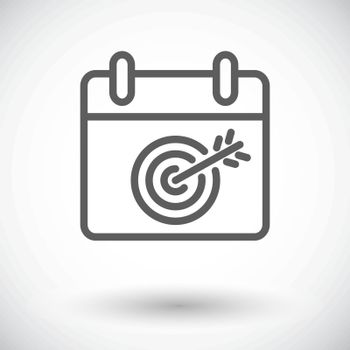 Calendar with goal. Single flat icon on white background. Vector illustration.