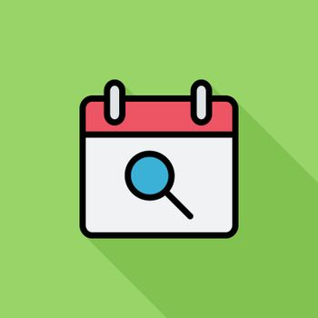 Calendar with search icon. Flat vector related icon with long shadow for web and mobile applications. It can be used as - logo, pictogram, icon, infographic element. Vector Illustration.