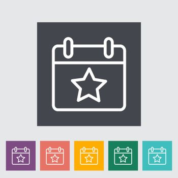 Calendar with star. Single flat icon on the button. Vector illustration.