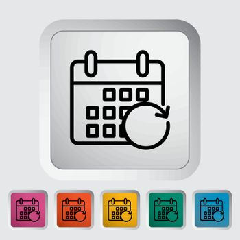 Calendar with upload. Single flat icon on the button. Vector illustration.