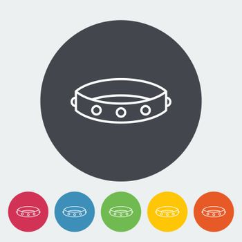 Collar. Single flat icon on the button. Vector illustration.
