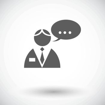 Man speak. Single flat icon on white background. Vector illustration.