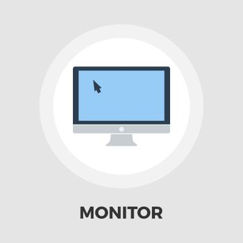 Monitor icon vector. Flat icon isolated on the white background. Editable EPS file. Vector illustration.