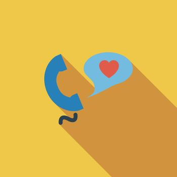 Phone sex icon. Flat vector related icon with long shadow for web and mobile applications. It can be used as - logo, pictogram, icon, infographic element. Vector Illustration.