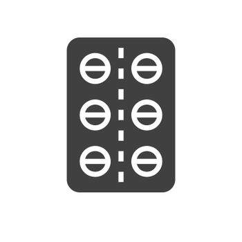 Pills Glyph Vector Icon. Isolated on the White Background. Editable EPS file. Vector illustration.