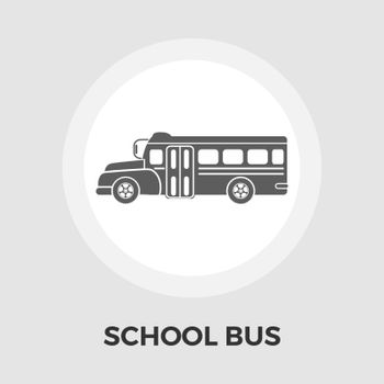 School bus icon vector. Flat icon isolated on the white background. Editable EPS file. Vector illustration.