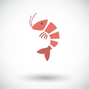 Shrimp. Single flat icon on white background. Vector illustration.