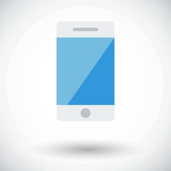 Smartphone. Single flat icon on white background. Vector illustration.