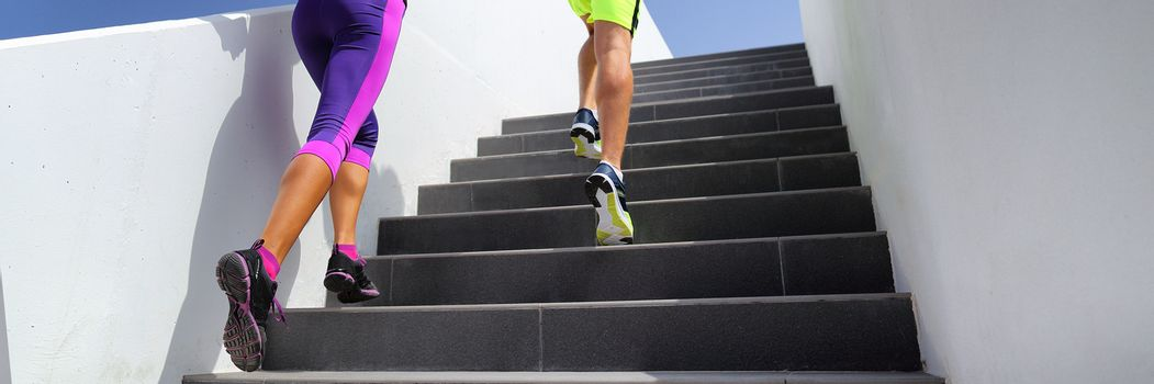 Stairs runners running fitness lifestyle banner. Jogging up staircase training hiit workout. Couple working out legs and cardio. Healthy active sport people exercising in urban city.