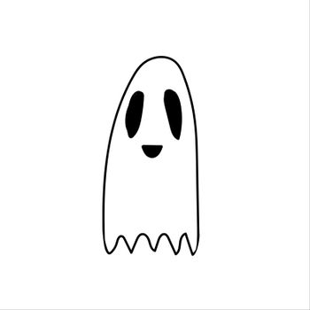 Ghost doodle, cartoon character, vector, Halloween, isolated illustration on white background coloring