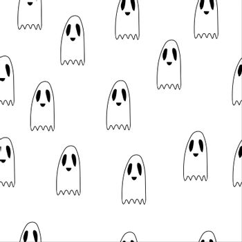 Seamless pattern ghost doodle, cartoon character, , Halloween, isolated illustration on white background, coloring