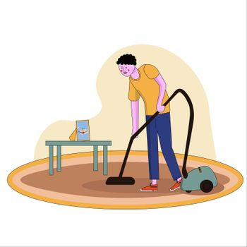 A vector illustration of father vacuuming the carpet in the house in cartoon style with line.