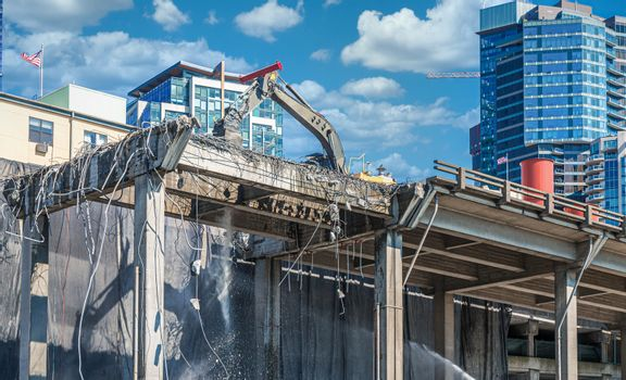 The Demolition of an Old Viaduct in Seattle