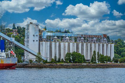 Industrial Grain Silos on Seattle Coast