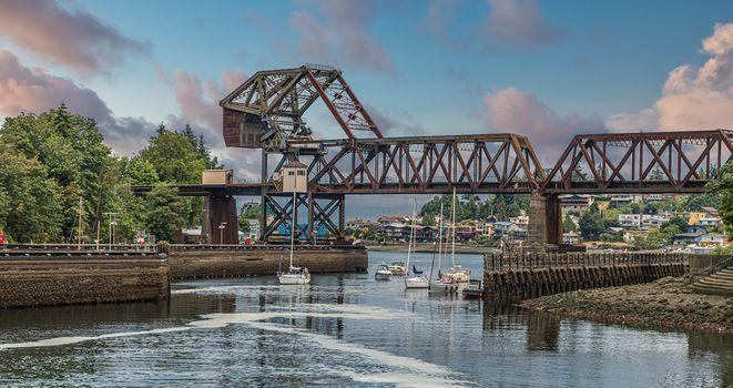 Salmon Bay Bridge in Ballard Locks in Seattle