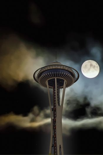 Space Needle at Night with Full Moon