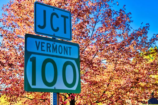 Vermont Road Junction Sign in foliage season