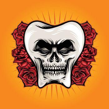 Dental Skull With Rose Illustrations