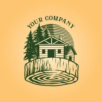 Lumber Log House Logo Vintage Wood