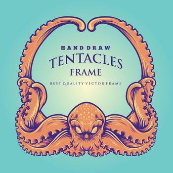Nautical Kraken Tentacles Frame Illustrations