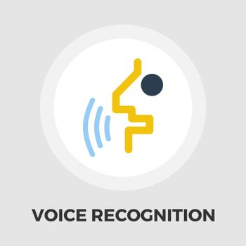 Voice recognition icon vector. Flat icon isolated on the white background. Editable EPS file. Vector illustration.