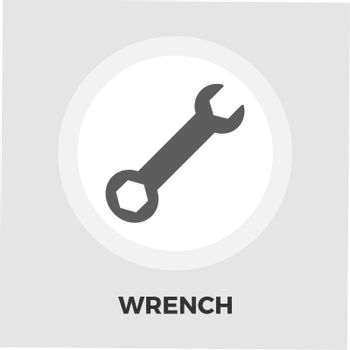 Wrench icon vector. Flat icon isolated on the white background. Editable EPS file. Vector illustration.