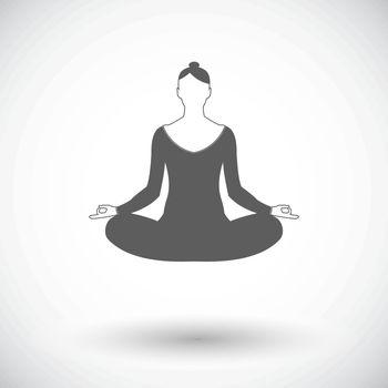 Yoga. Single flat icon on white background. Vector illustration.