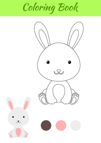 Coloring page little sitting baby rabbit. Coloring book for kids. Educational activity for preschool years kids and toddlers with cute animal. Flat cartoon colorful vector stock illustration.
