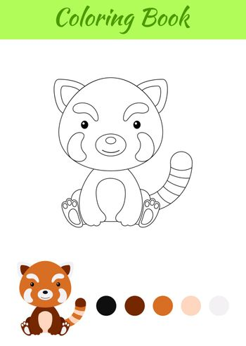 Coloring page little sitting baby red panda. Coloring book for kids. Educational activity for preschool years kids and toddlers with cute animal. Flat cartoon colorful vector stock illustration.