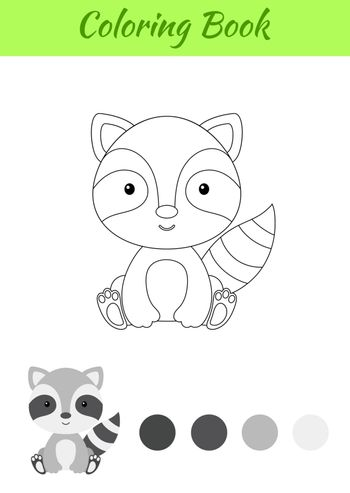 Coloring page little sitting baby raccoon. Coloring book for kids. Educational activity for preschool years kids and toddlers with cute animal. Flat cartoon colorful vector stock illustration.