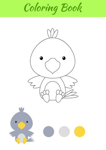 Coloring page little sitting baby raven. Coloring book for kids. Educational activity for preschool years kids and toddlers with cute animal. Flat cartoon colorful vector stock illustration.