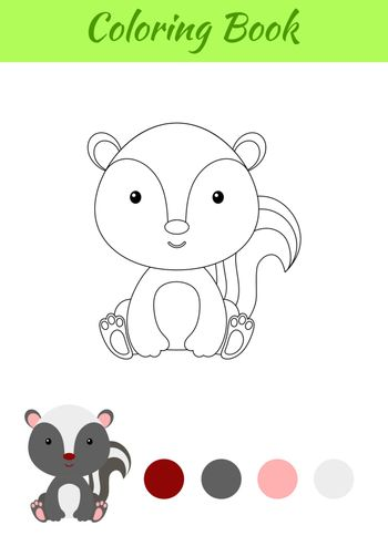 Coloring page little sitting baby skunk. Coloring book for kids. Educational activity for preschool years kids and toddlers with cute animal. Flat cartoon colorful vector stock illustration.