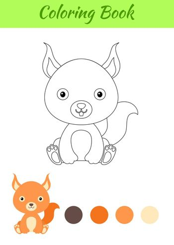 Coloring page little sitting baby squirrel. Coloring book for kids. Educational activity for preschool years kids and toddlers with cute animal. Flat cartoon colorful vector stock illustration.