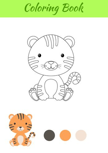 Coloring page little sitting baby tiger. Coloring book for kids. Educational activity for preschool years kids and toddlers with cute animal. Flat cartoon colorful vector stock illustration.