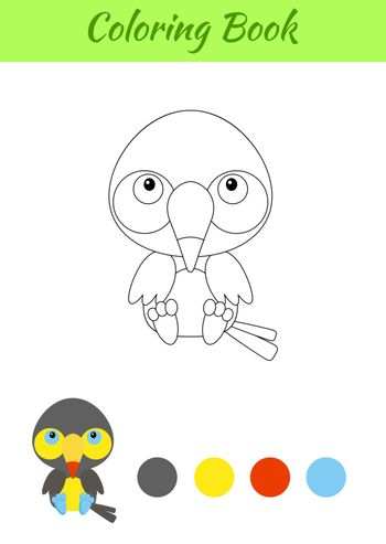 Coloring page little sitting baby toucan. Coloring book for kids. Educational activity for preschool years kids and toddlers with cute animal. Flat cartoon colorful vector stock illustration.