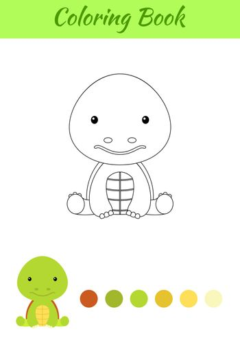 Coloring page little sitting baby turtle. Coloring book for kids. Educational activity for preschool years kids and toddlers with cute animal. Flat cartoon colorful vector stock illustration.