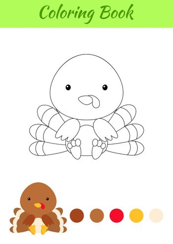 Coloring page little sitting baby turkey. Coloring book for kids. Educational activity for preschool years kids and toddlers with cute animal. Flat cartoon colorful vector stock illustration.