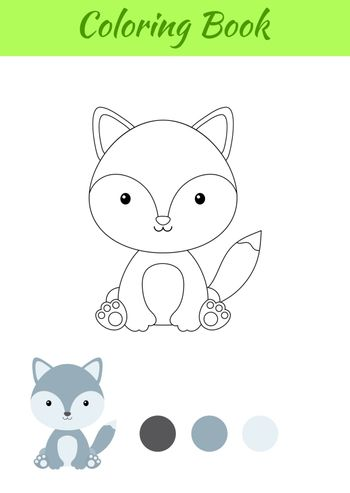 Coloring page little sitting baby wolf. Coloring book for kids. Educational activity for preschool years kids and toddlers with cute animal. Flat cartoon colorful vector stock illustration.