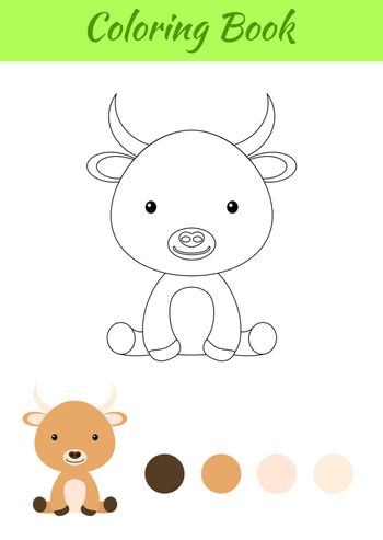 Coloring page little sitting baby yak. Coloring book for kids. Educational activity for preschool years kids and toddlers with cute animal. Flat cartoon colorful vector stock illustration.