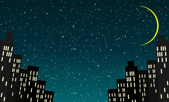 Cartoon city against the background of the night starry sky and the moon.