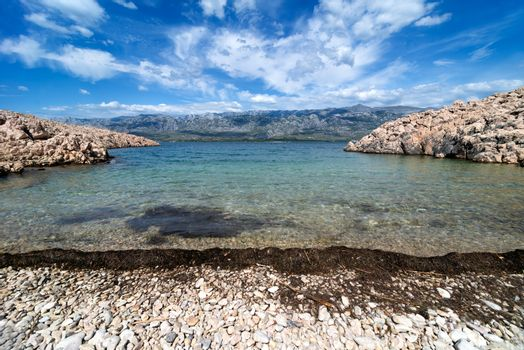 Adriatic Sea Bay With View Over Paklenica National Park Mountain