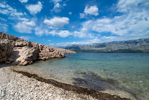 Adriatic Sea bay with view over Paklenica National Park