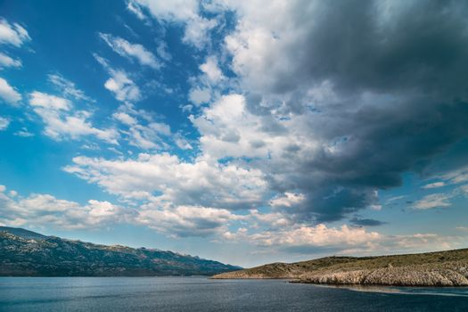 Adriatic Sea Bay With Dramatic Sky Overlooking Paklenica Nationa